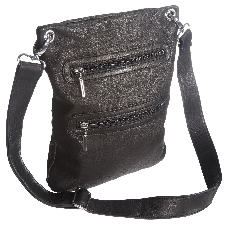 Margot Double Zip Crossbody Bag Leather For Women In Black