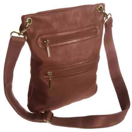 Margot Double-Zip Crossbody Bag - Leather (For Women) in Brandy - Closeouts
