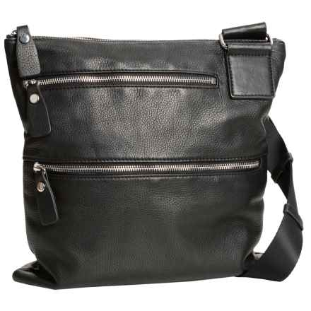 Margot Double-Zip Leather Purse - Crossbody (For Women) in Black - Closeouts