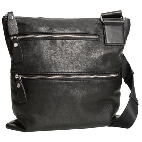 Margot Double-Zip Leather Purse - Crossbody (For Women) in Black