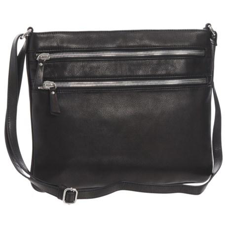 Margot Jesse Double-Zip Crossbody Bag - Leather (For Women) in Black