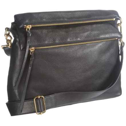 Margot Mickey Double-Flap Crossbody Bag - Leather (For Women) in Black - Closeouts
