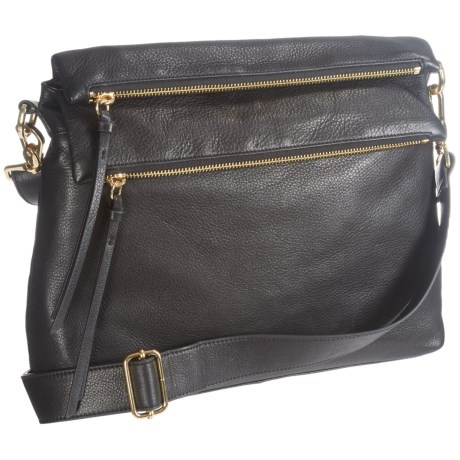 Margot Mickey Double-Flap Crossbody Bag - Leather (For Women) in Black