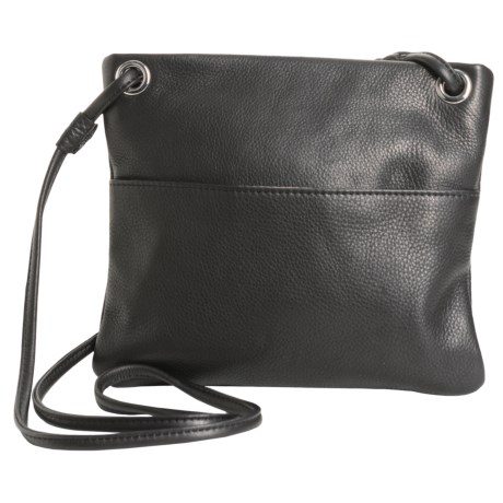 Margot Mini Square Leather Purse - Crossbody (For Women) in Black