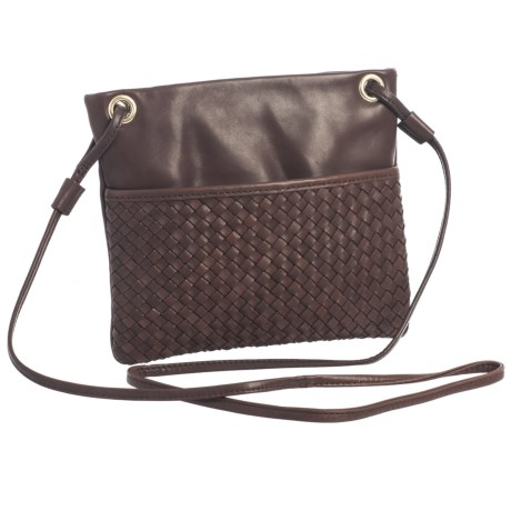 Margot Mini Square Woven Crossbody Bag - Leather (For Women) in Dark Brown