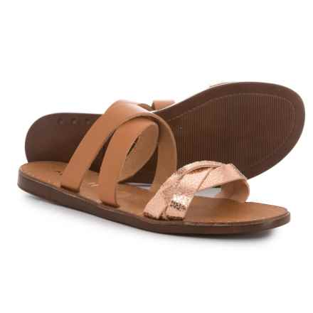 Mariella Made in Italy Flat Slide Sandals - Leather (For Women) in Whisky - Closeouts