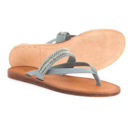 Mariella Made in Italy Suede Thong Flat Sandals - Leather (For Women) in Light Blue - Closeouts