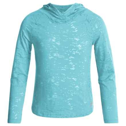 Marika Active Burnout Jersey Hooded Top - Long Sleeve (For Big Girls) in Aqua Tulip - Closeouts