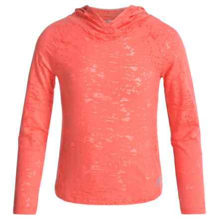 Marika Active Burnout Jersey Hooded Top - Long Sleeve (For Big Girls) in Coral Impact - Closeouts