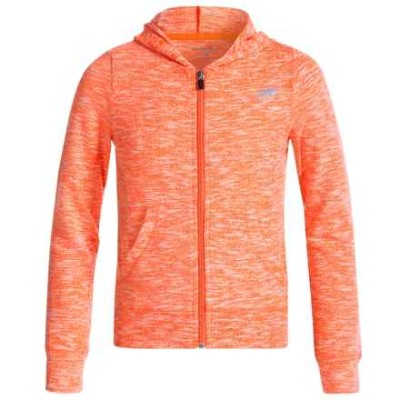 Marika Active Slub Hoodie - Zip Front (For Big Girls) in Coral Impact - Closeouts