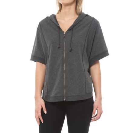 Marika Balance Collection Piper Hooded Poncho - Full Zip, Elbow Sleeve (For Women) in Heather Charcoal - Closeouts