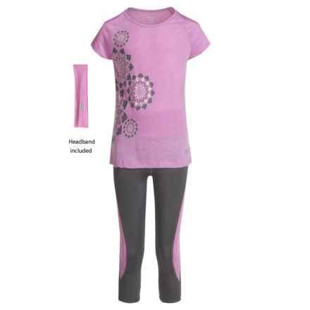 Marika Cold-Shoulder Shirt, Headband and Capris Set - Short Sleeve (For Big Girls) in Pink Lotus/Quiet Shade - Closeouts