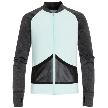 Marika Color-Block Zip Shirt - Long Sleeve (For Big Girls) in Aqua Water/Charcoal Heather