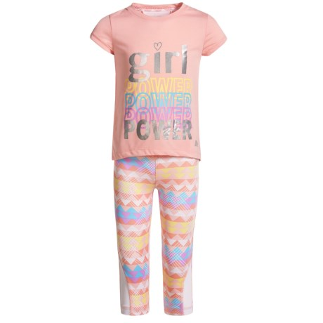Marika High-Low T-Shirt and Printed Leggings Set - Short Sleeve (For Big Girls) in Relaxing Peach Multi