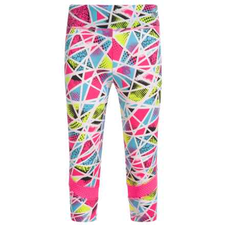 Marika Printed Active Capris (For Little Girls) in Neon Knockout Pink/Teal Aqua Multi - Closeouts