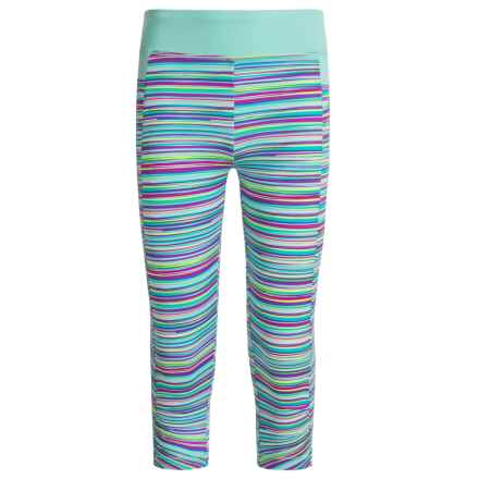 Marika Printed Active Capris (For Little Girls) in Purple Cheer/Mint Bait - Closeouts
