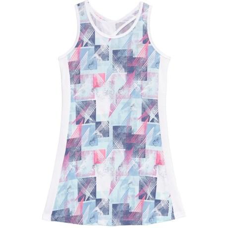 Marika Printed High-Performance Jersey Dress - Sleeveless (For Big Girls) in Aqua Water/Country Blue Multi
