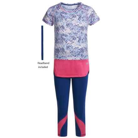 Marika Printed Jersey Raglan Shirt and Capris Set - Short Sleeve (For Little Girls) in Navy Noir/Pretty Hibiscus - Closeouts