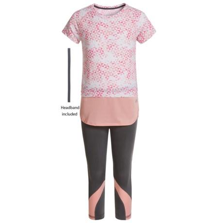 Marika Printed Jersey Raglan Shirt and Capris Set - Short Sleeve (For Little Girls) in Quiet Shade/Relaxing Peach