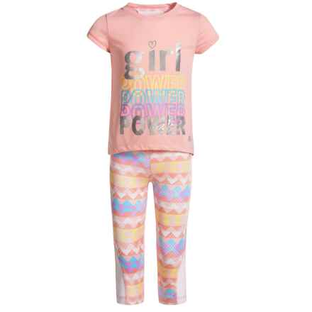 Marika Split-Back Shirt and Printed Leggings Set - Short Sleeve (For Little Girls) in Relaxing Peach Multi - Closeouts