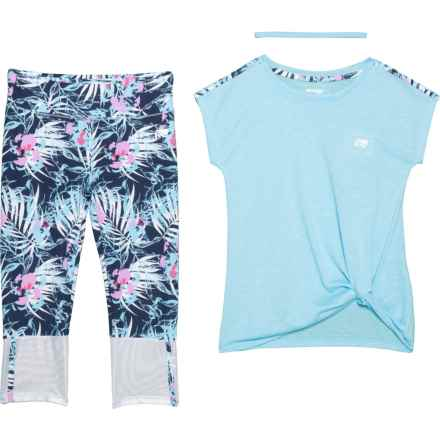 T-Shirt, Headband and Capris Set - Sleeveless (For Big Girls) in Blue Muscle/Peony Petal - Closeouts