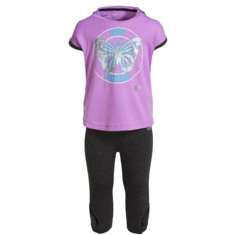 Marika Tulip-Back Hooded Shirt,  Capri Leggings and Headband Set - Short Sleeve (For Little Girls) in Lilac View/Charcoal Heather