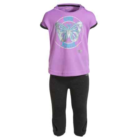 Marika Tulip-Back Hooded Shirt, Capri Leggings and Headband Set - Short Sleeve (For Toddlers) in Lilac View/Charcoal Heather - Closeouts