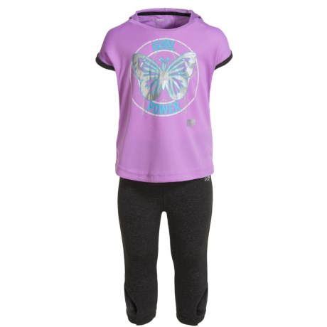 Marika Tulip-Back Hooded Shirt, Capri Leggings and Headband Set - Short Sleeve (For Toddlers) in Lilac View/Charcoal Heather
