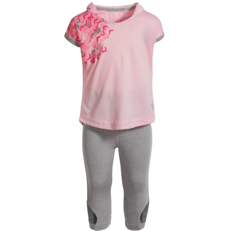 Marika Tulip-Back Hooded Shirt, Capri Leggings and Headband Set - Short Sleeve (For Toddlers) in Rose/Gray Heather