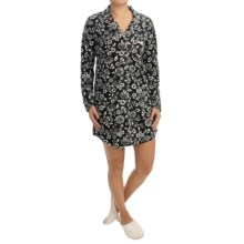 Marilyn Monroe Baby Fleece Nightshirt - Button Front, Long Sleeve (For Women) in Black Floral - Closeouts