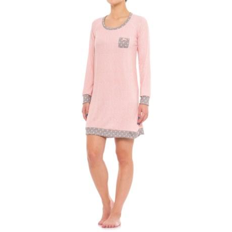Marilyn Monroe brushed Hacci Sleep Shirt - Long Sleeve (For Women) in Rosemary Heather