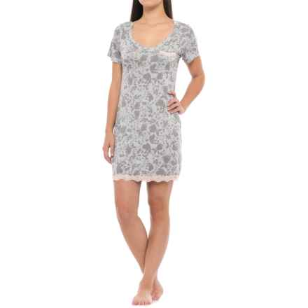 Marilyn Monroe Lace-Trimmed Nightshirt - Short Sleeve (For Women) in Grey Floral - Closeouts