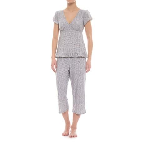 Marilyn Monroe Ruffled-Hem Capris Pajamas - Short Sleeve (For Women) in Taupe Geo