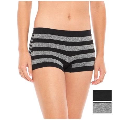 Marilyn Monroe Seamless Panties - Boy Shorts, 3-Pack (For Women) in Black/Grey Heather/Grey Heather Black Stripe