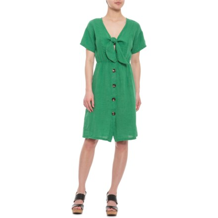 d8d074920ef Marina Gigli Made in Italy Green Front-Tie Shift Dress - Short Sleeve (For