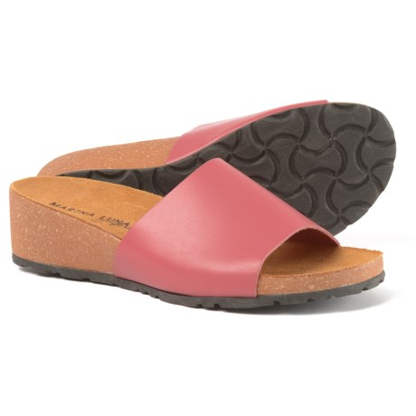 Marina Luna Comfort Made in Italy Comfort Band Wedge Slide Sandals - Leather (For Women)