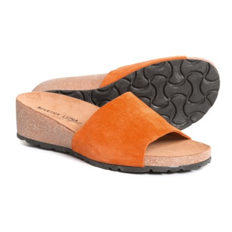 Marina Luna Comfort Made in Italy Comfort Band Wedge Slide Sandals - Leather (For Women) in Orange
