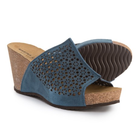 Marina Luna Comfort Made in Italy Perforated Wedge Sandals - Suede (For Women) in Blue