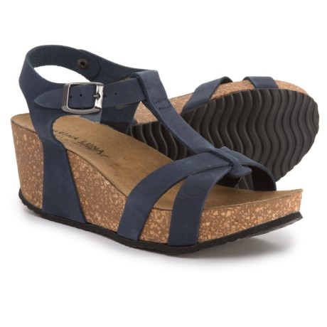 Marina Luna Comfort Made in Italy T-Strap Wedge Sandals - Nubuck (For Women) in Navy