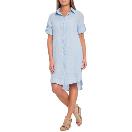 2c0e4f6b9ff8f Marisa   Marie Made in Italy Light Blue High-Low Shirtdress - Linen
