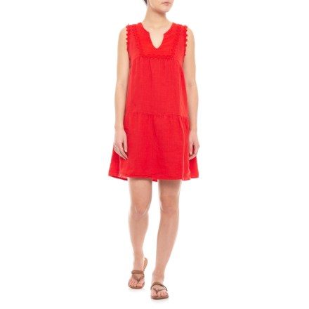 9f97327004 Marisa   Marie Made in Italy Red Embroidered Linen Dress - Sleeveless (For  Women)
