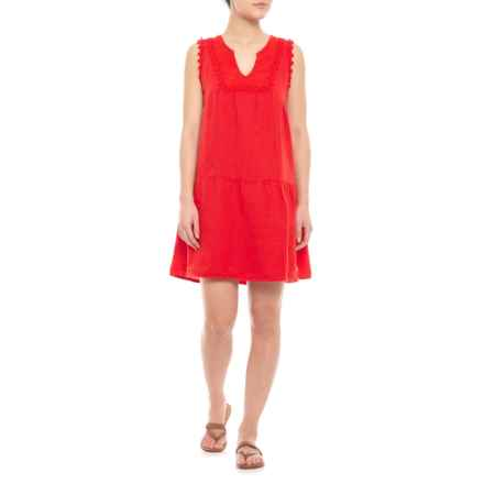 Marisa & Marie Made in Italy Red Embroidered Linen Dress - Sleeveless (For Women) in Red - Closeouts