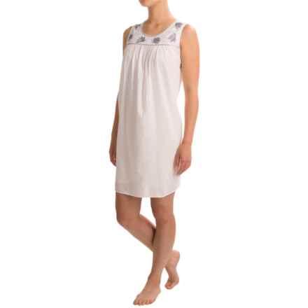 Marisa Christina Chemise Nightshirt - Sleeveless (For Women) in White W/ Blue - Closeouts