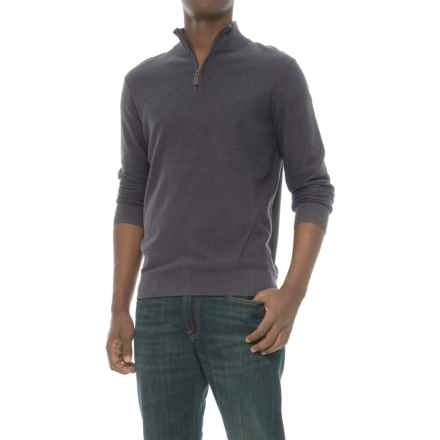 Mark Law Textured Zip Neck Sweater (For Men) in Charcoal Heather - Closeouts