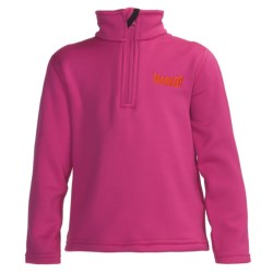 Marker Active Fleece Shirt - Mock Zip Neck, Long Sleeve (For Little Kids) in Hot Pink