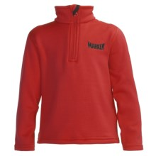 Marker Active Fleece Shirt - Mock Zip Neck, Long Sleeve (For Little Kids) in Red - Closeouts