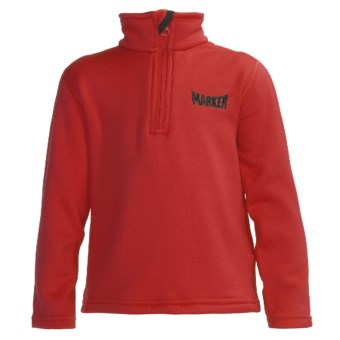 Marker Active Fleece Shirt - Mock Zip Neck, Long Sleeve (For Little Kids) in Red