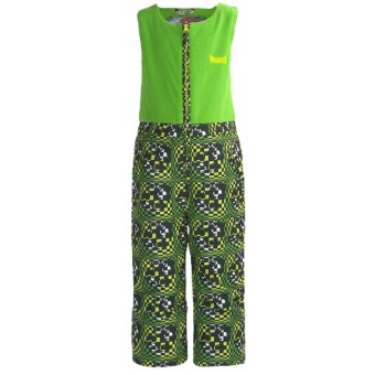 Marker Castle Fleece Bib Overalls - Waterproof, Insulated (For Kids) in Green Print