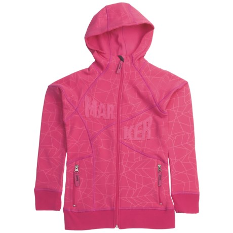 Marker Fantasy Tech Zip Hoodie - Fleece Lining (For Girls) in Sorbet
