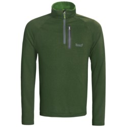 Marker Grid Fleece Pullover - Zip Neck (For Men) in Green